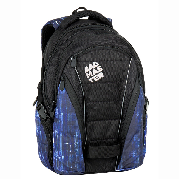 "Bagmaster trojkomový batoh s vreckom na notebook 15,4"" - a BAG 7 G BLACK/BLUE/WHITE"