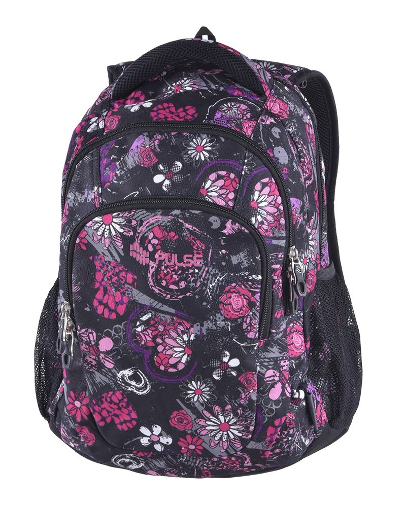 450523fa04 Pulse školský batoh teens black flower